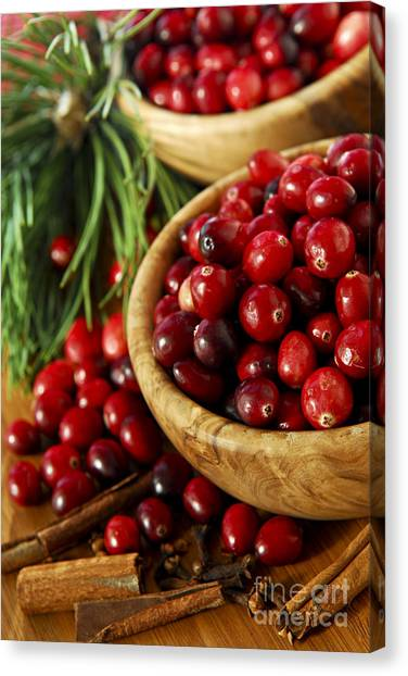 Cranberry Sauce Canvas Print - Cranberries In Bowls by Elena Elisseeva