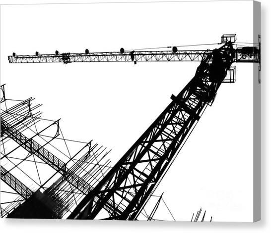 Balance Beam Canvas Print - Crane And Scaffolding by Yali Shi