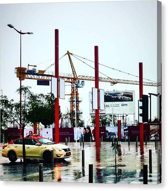 Stoplights Canvas Print - Crane Drops. #weather #rain #storm by Matthew Gilbert