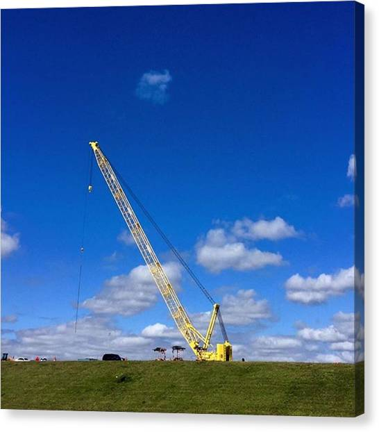 Industrial Canvas Print - Crane On Road Construction Site by Juan Silva