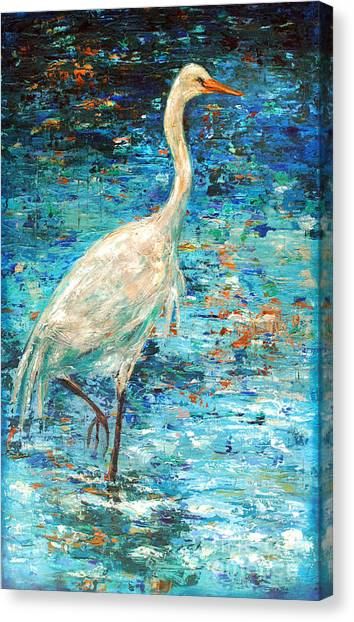 Crane Reflection Canvas Print