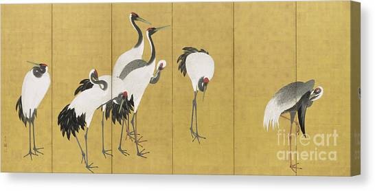 Storks Canvas Print - Cranes by Maruyama Okyo