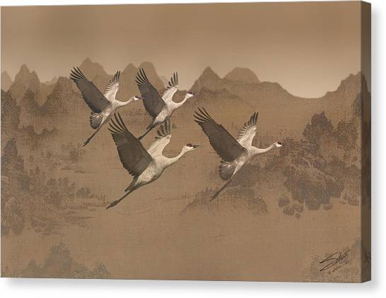 Cranes Migrating Over Mongolia Canvas Print
