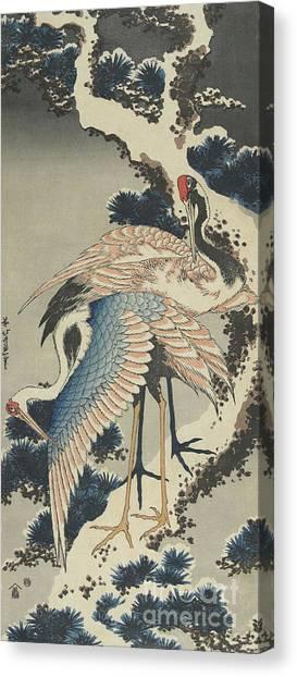 Storks Canvas Print - Cranes On Pine by Hokusai