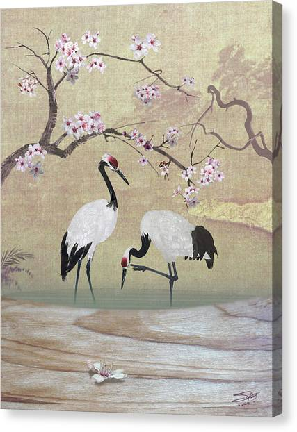 Cranes Under Cherry Tree Canvas Print