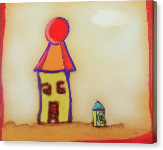 Cranky Clown Cabana And Fire Hydrant Canvas Print