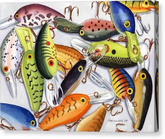 Bass Fishing Canvas Print - Crankbaits by Mark Jennings