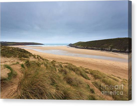 Crantock Beach In Cornwall England Canvas Print by Richard Thomas