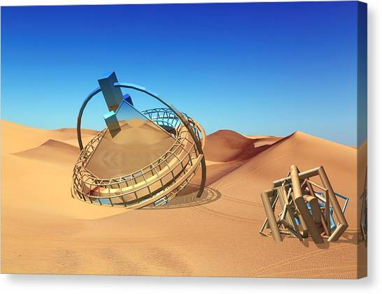 Crash Space Craft In The Desert Canvas Print
