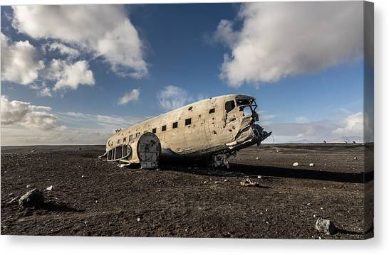Canvas Print featuring the photograph Crashed Dc-3 by James Billings