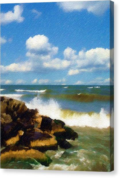 Crashing Into Shore Canvas Print