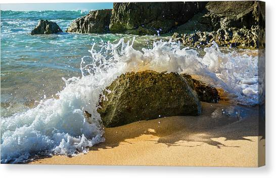Crashing Over The Rock Canvas Print