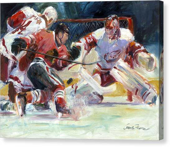 Blackhawk Canvas Print - Crashing The Net by Gordon France