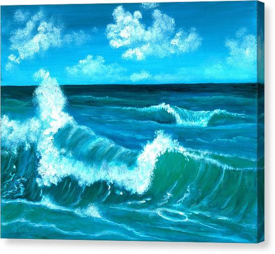 Canvas Print featuring the painting Crashing Wave by Anastasiya Malakhova