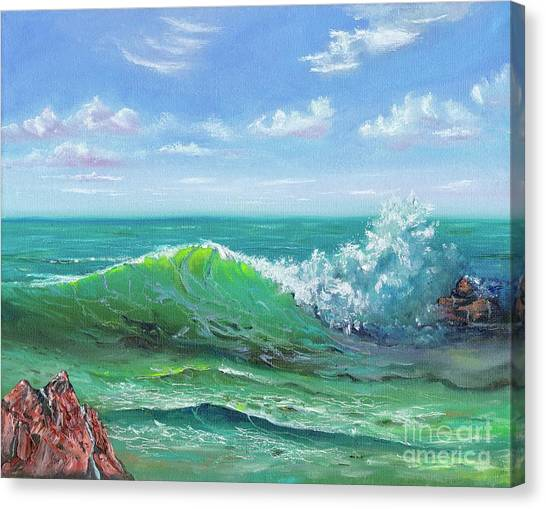 Canvas Print featuring the painting Crashing Wave by Mary Scott