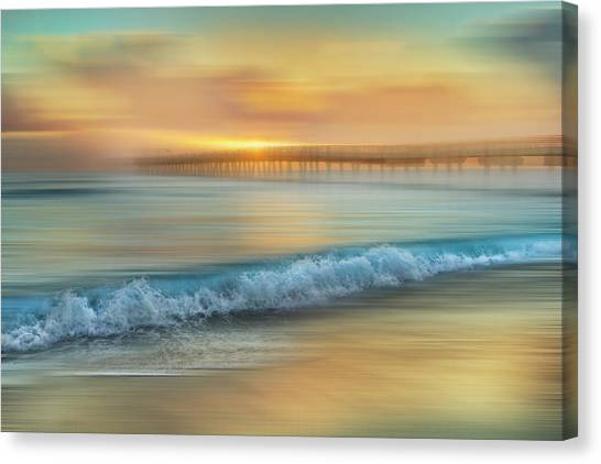 Canvas Print - Crashing Waves At Sunrise Dreamscape by Debra and Dave Vanderlaan