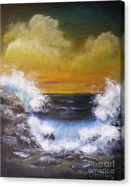 Crashing Waves Canvas Print by Crispin  Delgado