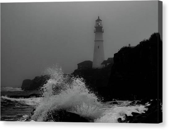 Crashing Waves On A Foggy Morning Canvas Print