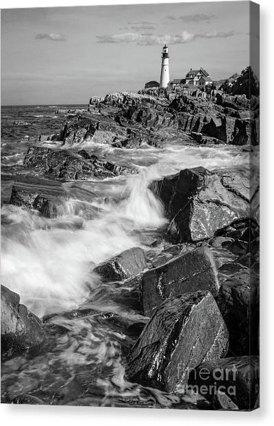 Crashing Waves, Portland Head Light, Cape Elizabeth, Maine  -5605 Canvas Print