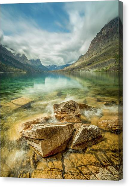 Crashing Waves // Saint Mary Lake, Glacier National Park  Canvas Print