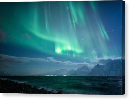 Winter Landscape Canvas Print - Crashing Waves by Tor-Ivar Naess