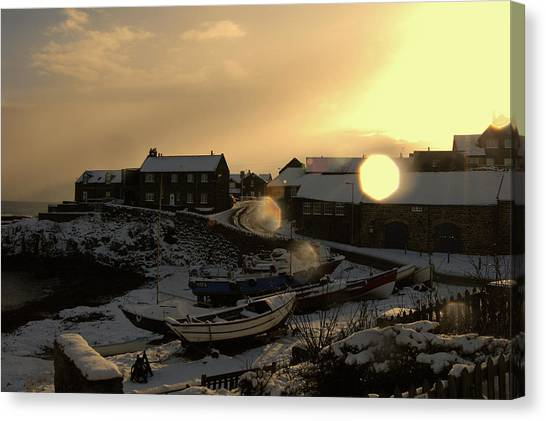 Craster Harbour In Winter 2 Canvas Print