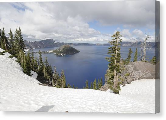 Crater Lake Cloud And Shadow Canvas Print