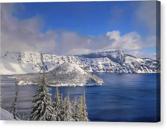North Rim Canvas Print - Crater Lake by Donna Kennedy