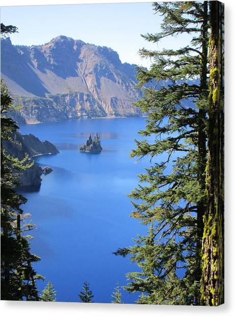 Crater Lake Ghost Ship Island Canvas Print