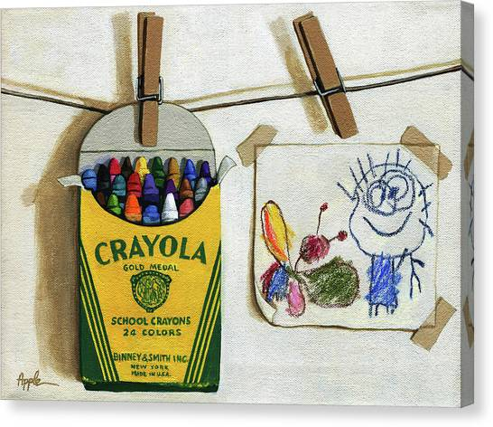 Box Of Crayons And Child's Drawing Realistic Still Life Painting Canvas Print