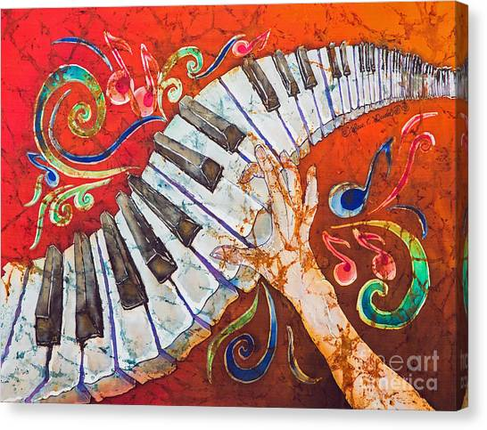Electronic Instruments Canvas Print - Crazy Fingers - Piano Keyboard  by Sue Duda