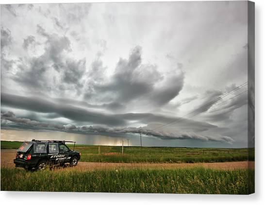 Crazy Shelf Cloud Near Ponteix Sk. Canvas Print