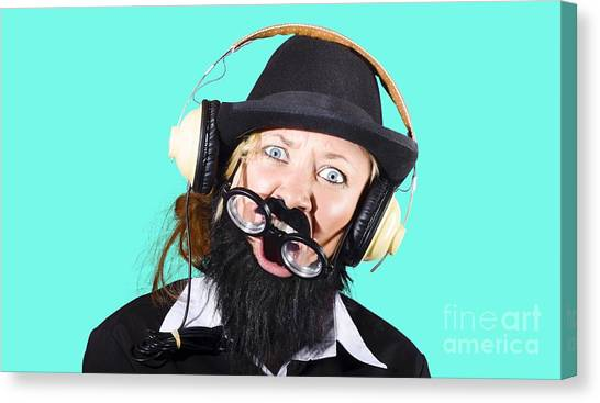 Headphones Canvas Print - Crazy Woman With Headphones by Jorgo Photography - Wall Art Gallery