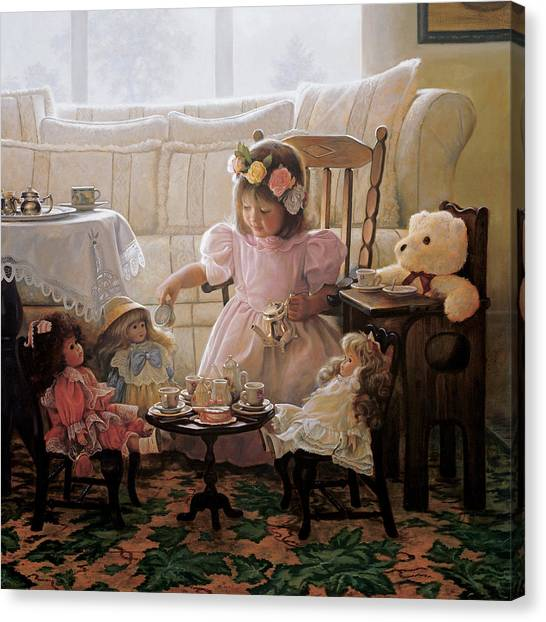 Children Canvas Print - Cream And Sugar by Greg Olsen