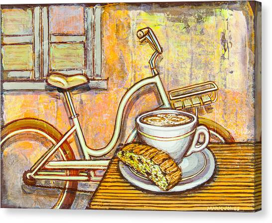 Cream Electra Town Bicycle With Cappuccino And Biscotti Canvas Print