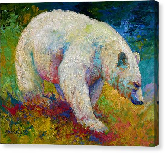 Alaska Canvas Print - Creamy Vanilla - Kermode Spirit Bear Of Bc by Marion Rose