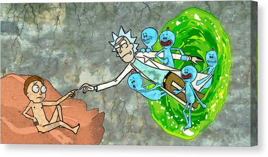 Canvas Print featuring the painting Creation Of Morty by Rick And Morty