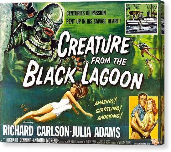 1950s Movies Canvas Print - Creature From The Black Lagoon, Upper by Everett