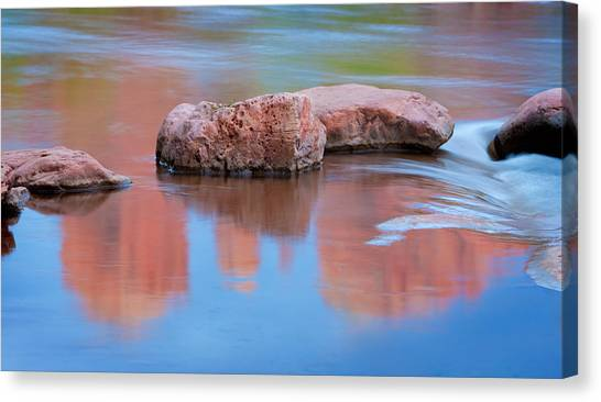 Creek Rocks With Cathedral Rock Reflection Canvas Print