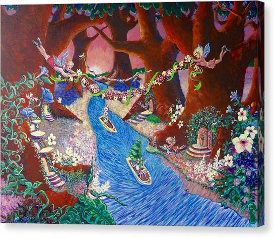 Canvas Print featuring the painting Creekside Fairy Celebration by Jeanette Jarmon