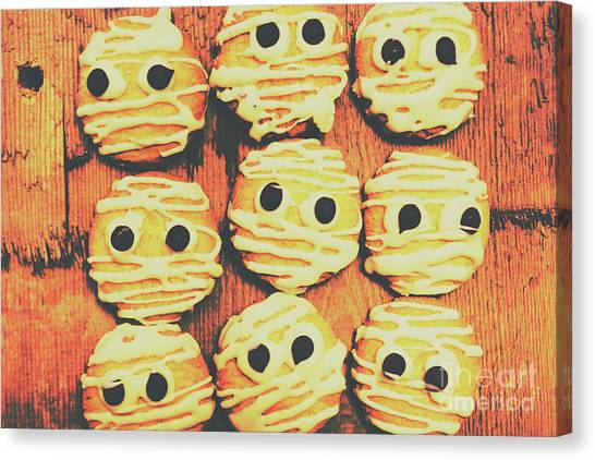 Biscuits Canvas Print - Creepy And Kooky Mummified Cookies  by Jorgo Photography - Wall Art Gallery