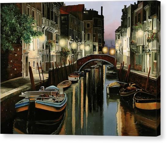 Dock Canvas Print - Crepuscolo In Laguna by Guido Borelli