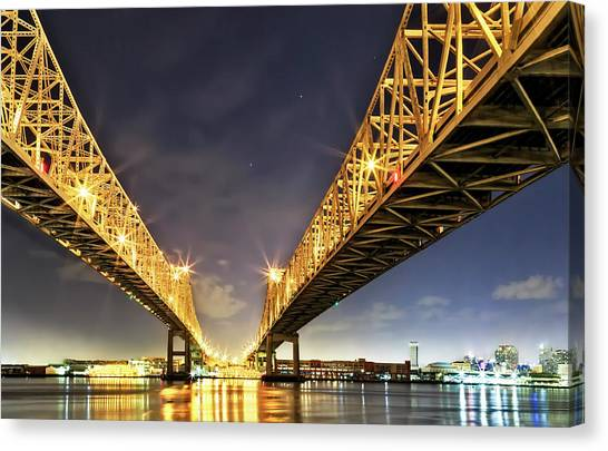 Crescent City Bridge In New Orleans Canvas Print