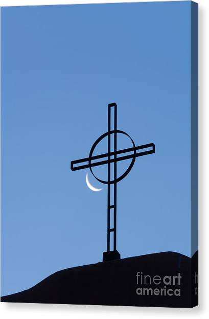 Crescent Moon And Cross Canvas Print