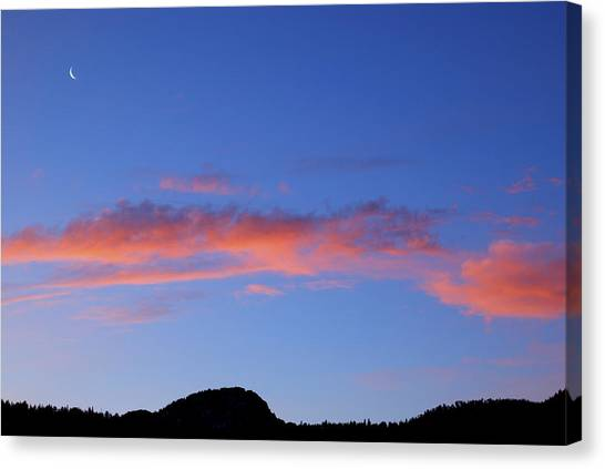 Rocky Mountains Canvas Print - Crescent Moon At Dawn by Kristin Davidson