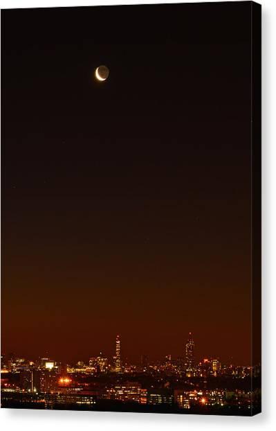 Crescent Moon Over Boston Canvas Print
