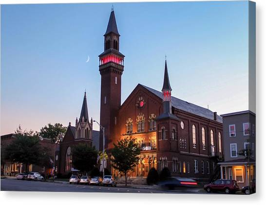 Crescent Moon Over Old Town Hall Canvas Print