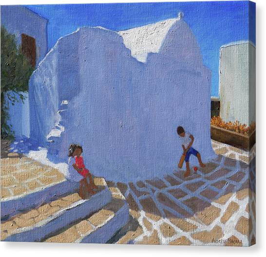 Cricket Canvas Print - Cricket By The Church Wall, Mykonos  by Andrew Macara