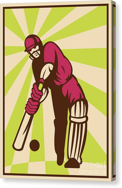 Cricket Players Canvas Print - Cricket Sports Batsman Batting Retro by Aloysius Patrimonio