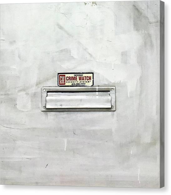 Canvas Print - Crime Watch Mailslot by Julie Gebhardt